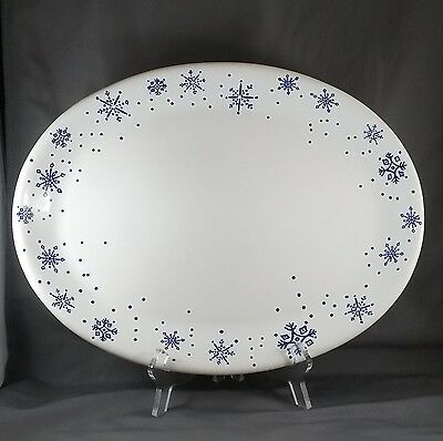 """Anchor Hocking Snow Flake Platter 15.75"""" White with Blue Snowflakes"""