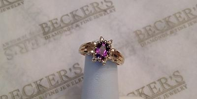 14k yg Oval Amethyst & 8 Diamond Halo Ring with Triple Split Shank size 6.5
