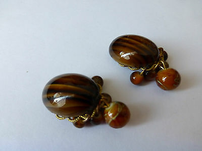 Vintage Oval Clip On Earrings With Faux Tiger's Eye Cabochon
