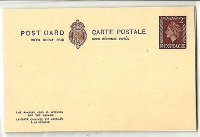 QE2 1950s 2d Brown Reply Card UMM