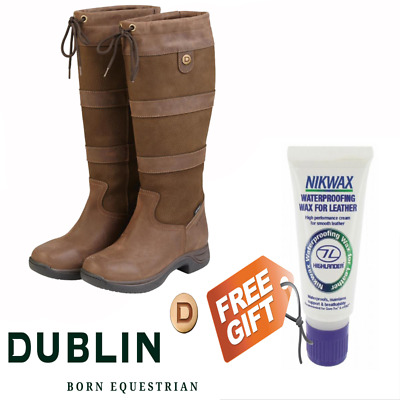 Dublin Waterproof Leather Country River Boots - FREE NIXWAX GIFT - Chocolate
