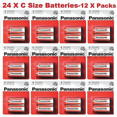 New Pack of 4 Panasonic ' C ' Size R14 Zinc Carbon 1.5 V Battery