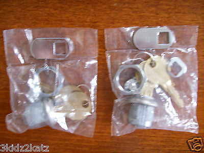 NEW~Set of 2  Replacement Locks & Keys For Cabinet & Desks ~ FREE SHIPPING!