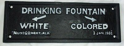 Cast Iron Segregation DRINKING FOUNTAINS WHITE COLORED Black AMERICANA PLAQUE