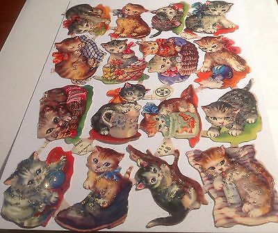 Vintage Die-Cut Paper Scraps- AFKH  48~. Playful Kittens. (With Glitter )