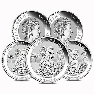 Lot of 5 - 2017 1 oz Silver Australian Koala Perth Mint .999 Fine BU In Cap