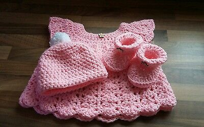 Hand Crocheted Dress Hat and Bootee Gift Set