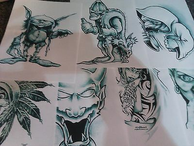 40 BLACK&WHITE TATTOO FLASH FANTASY SHEETS...a5..new out of folder