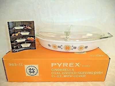 Vintage Pyrex Cinderella Town & Country Divided Oval Casserole Dish & Lid 963-11