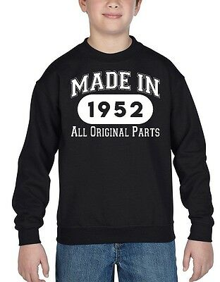 Made In 1952 Youth Crewneck All Original Parts 65th Birthday Gift Sweatshirts
