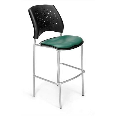 OFM Stars CafT Height Vinyl Silver Chair, Teal