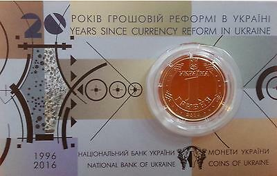 Ukraine - 1 Hryvna 2016 20 Years since Currency reform UNC Lemberg-Zp