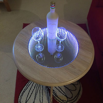 Modern 3D LED Illuminated INFINITY MIRROR Coffee Table, Tunnel Effect, full RBG