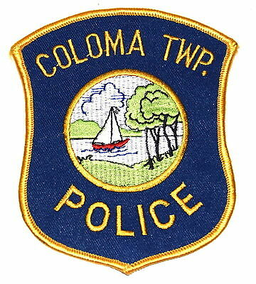 COLOMA TWP TOWNSHIP MICHIGAN MI Police Patch SAIL BOAT RIVER CLOUDS ~