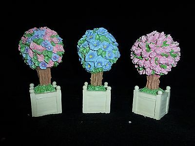NEW ~ Dept 56 Snowbunnies FLOWERING SPRING TOPIARIES Trees Set of 6 #23755 NIB