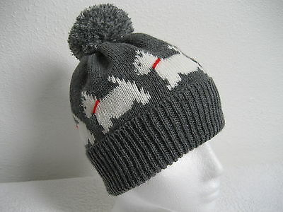 West Highland White Terrier (Westie) Dog Knitted Grey Pompom Hat Adult Size