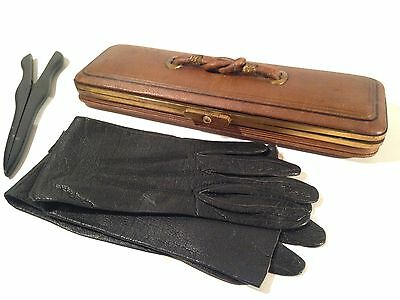 Antique Ladies Leather Gloves Glove Stretcher & Leather Case Saks 5th Ave France