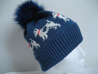 Jack Russell Terrier Dog Knitted Denim Blue Hat With Faux Fur Pompom Adult Size