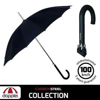 Doppler Carbonsteel Long Automatic Stick black umbrella - 5 years warranty
