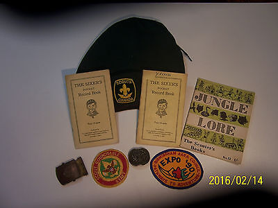 Collection of Scouting items, Beret, 3 Manuals, Belt buckle, Tie slide, badges