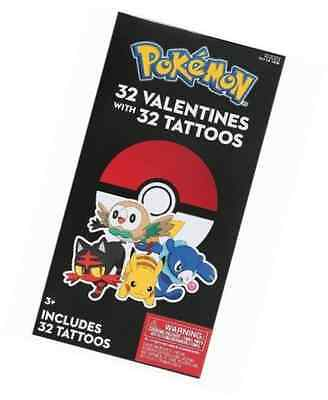 Pokemon Valentine Cards with Tattoos For Classroom- 32 Count