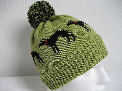 Greyhound / Whippet Dog Pistachio Colour Knitted Pompom Hat Adult Size