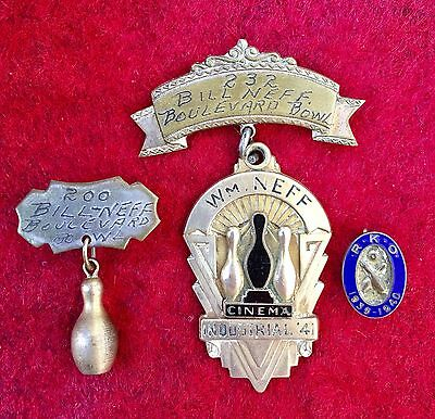1941 Bowling Medal, Industry League Cinema, Bill Neff Classic Hollywood Actor.