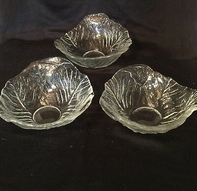 3 Viking Glass Clear Cabbage Salad Bowls  1993-97 Discontinued