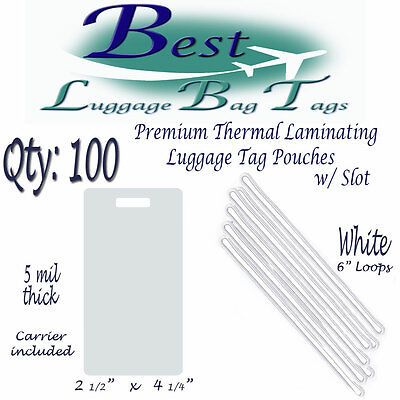 """QTY:100  5 mil Luggage Tag Laminating Pouches 2-1/2"""" x 4-1/4"""" & 6"""" White Loops"""