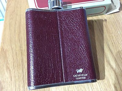 Hip Flask In Burgundy Leather and Stainless Steel, BNIB.