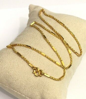 24k Solid Gold Box Link Chain/ Necklace. 16 Inches. 7.53 Grams