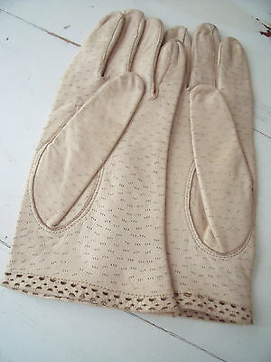 Dents Vintage Cream Soft Leather Gloves size 7