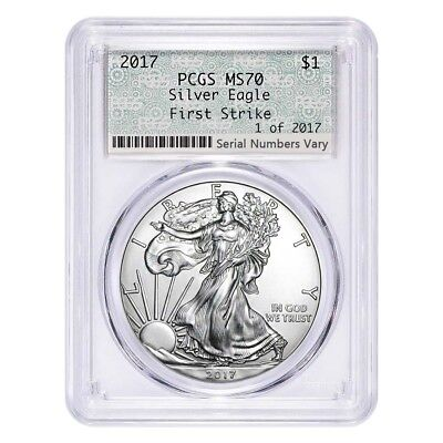 2017 1 oz Silver American Eagle $1 Coin PCGS MS 70 First Strike 1 of 2017 (Doily
