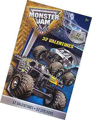 Monster Jam Valentines Exchange Cards with Stickers