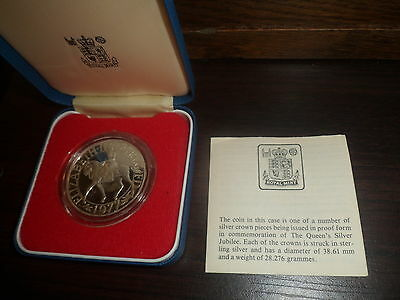 Boxed+ Cert,1977 Silver Proof Crown For The Silver Jubilee
