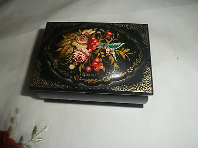 19th Century hand painted signed  Paper Mache Snuff Box