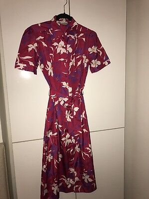 Vintage Lanvin Hawaiian Print  Button Front Dress