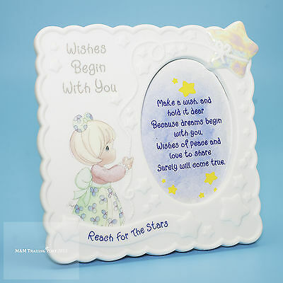 """1998 Enesco PRECIOUS MOMENTS """"Wishes Begin with You"""" Picture Frame - 5"""" x 5"""""""
