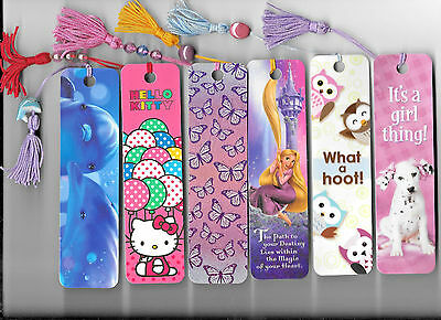 Tangled Rapunzel Hello Kitty Dolphins Owls Puppy Girls Laminated 6 Bookmark Lot