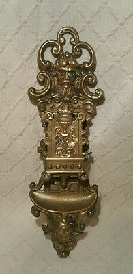 Victorian Gold Tone Metal Match Box Holder & Stiker In Gothic Revival Style