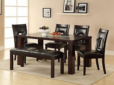 AURORA-6pc Casual Modern Espresso Rectangular Dining Room Table Chairs Bench Set