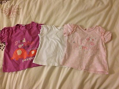 3x Baby Girl T-shirts Size 3-6 Months
