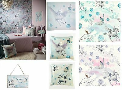 Fairytale Girls Bedroom Unicorn Pegasus Horse Wallpaper & Matching Accessories