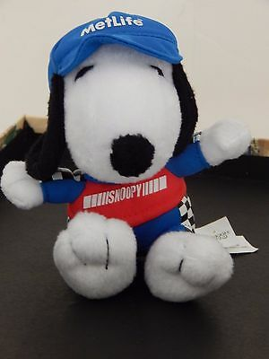 "SNOOPY MetLife RACING PLUSH 5"" tall Character from PEANUTS  Stuffed Dog Animal"