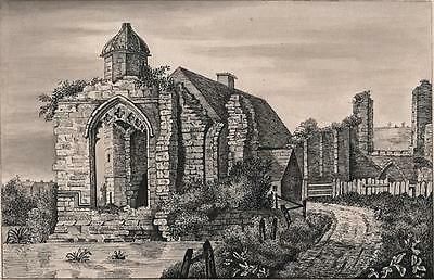 REMAINS OF DUDLEY PRIORY CHURCH WORCESTERSHIRE Antique Pen & Ink Drawing c1830