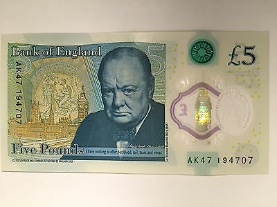 AK47 Unique Collector Bank of England Polymer £5 Five Pound Note Genuine