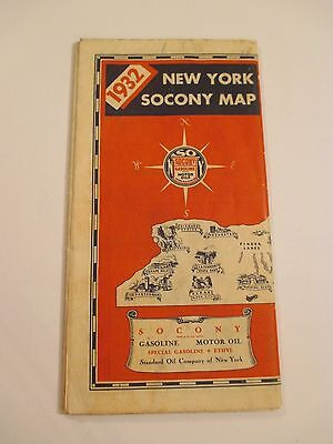 Vintage 1932 SOCONY STANDARD OIL NEW YORK Gas Road Map