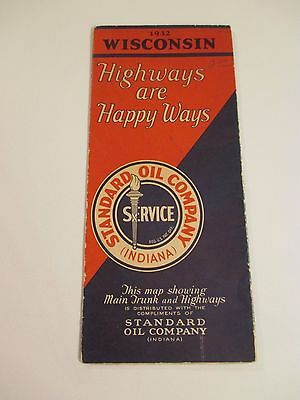 Vintage 1932 STANDARD OIL WISCONSIN Gas Service Station Road Map