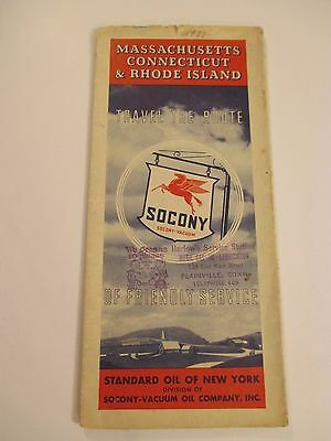 Vintage 1937 SOCONY STANDARD OIL MASS CONN RI Gas Road Map~HARLOW'S SERVICE