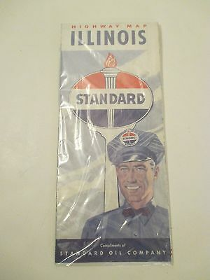 VINTAGE STANDARD OIL ILLINOIS Oil Gas Service Station Road Map~1950 Population